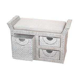Stolička 3 zásuvky biela antik